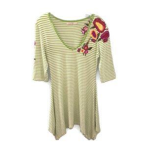 Caite Anthropologie Embroidered V-Neck Dress